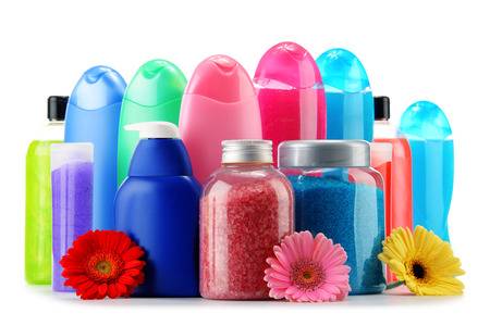 Plastic bottles of body care and beauty products isolated on white Stok Fotoğraf