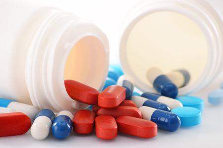 医薬品錠剤とコンテナーの様々 な組成物。 写真素材