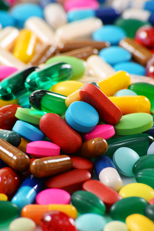 prophylactic: Composition with variety of drug pills and dietary supplements. Stock Photo