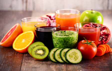 fruits juice: Glasses of fresh organic vegetable and fruit juices. Detox diet.