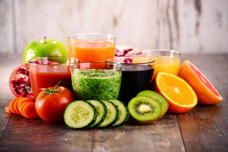 Glasses of fresh organic vegetable and fruit juices. Detox diet.