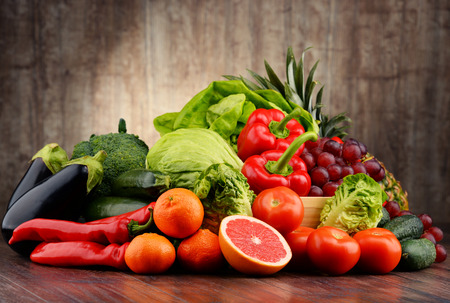 balanced diet: Composition with variety of fresh vegetables and fruits. Detox diet. Stock Photo