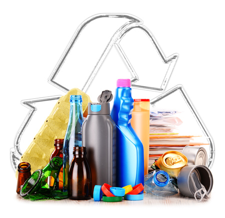 bottleneck: Composition with recyclable garbage consisting of glass, plastic, metal and paper isolated on white background