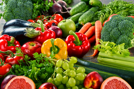 balanced diet: Composition with a variety of organic vegetables and fruits.