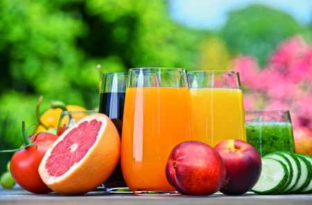 detoxification: Glasses with fresh organic detox juices in the garden