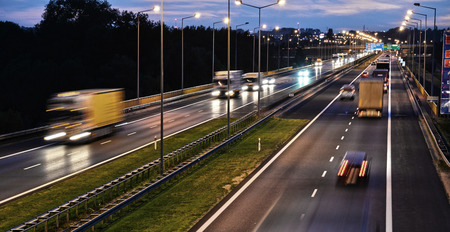 highway night: Controlled-access highway in Poznan, Poland