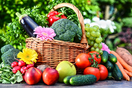 Variety of fresh organic vegetables and fruits in the garden. Balanced diet Imagens