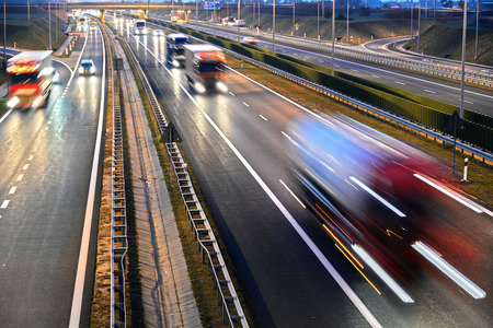 Four lane controlled-access highway in Poland. Stock Photo