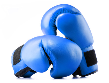 prevalence: Pair of blue leather boxing gloves isolated on white background