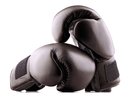 prevalence: Pair of black leather boxing gloves isolated on white background Stock Photo