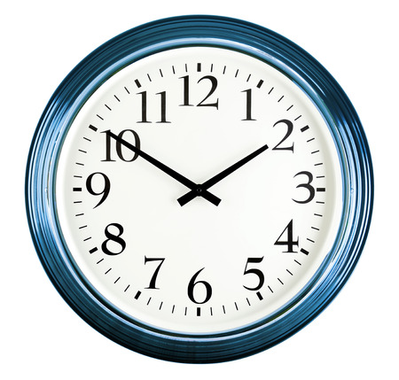 two object: Wall clock isolated on white background. Ten to two
