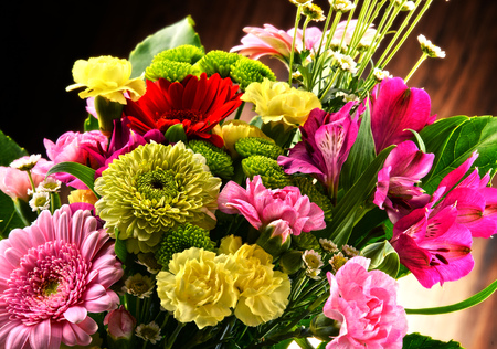 assorted: Composition with bouquet of flowers.