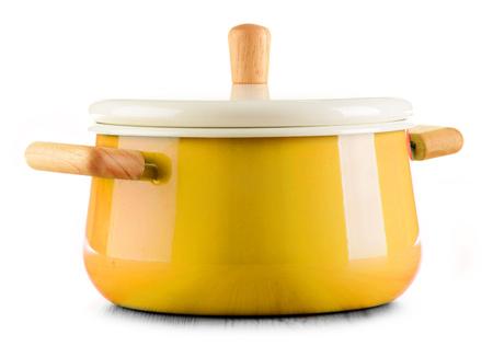 kitchen tool: Steel pot isolated on white background. Stock Photo