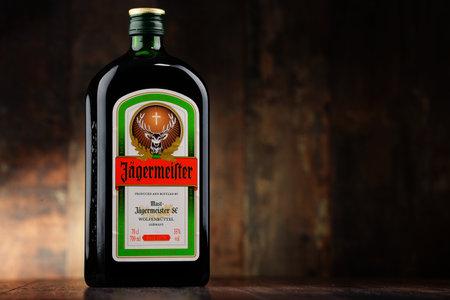 liqueur labels: Bottle of Jagermeister herbal liqueur Editorial