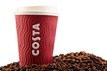 costa: Costa Coffee cup of coffee and beans Editorial