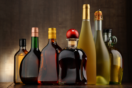 alcoholic beverages: Composition with bottles of assorted alcoholic beverages.