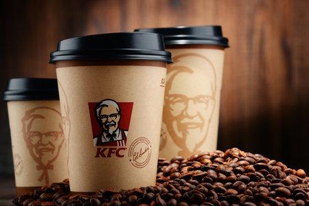 logo de comida: El café se ha convertido en un importante campo de batalla para las empresas de comida rápida más sorprendentes. KFC es uno de ellos. Editorial