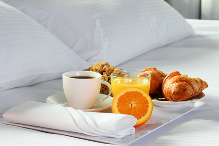 accommodation: Breakfast in bed in hotel room. Accommodation.