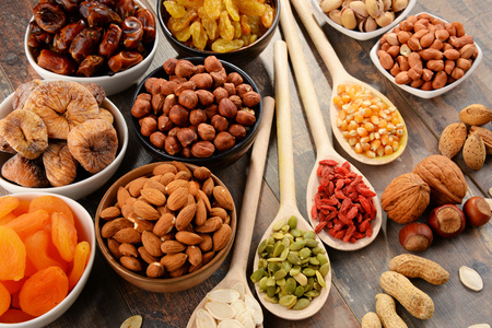 vegan: Composition with dried fruits and assorted nuts. Stock Photo