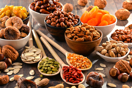 dried fruit: Composition with dried fruits and assorted nuts. Stock Photo