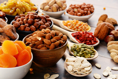 assorted: Composition with dried fruits and assorted nuts. Stock Photo