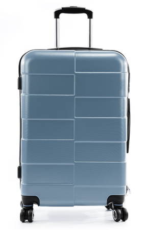 baggage: Large gray polycarbonate suitcase isolated on white background