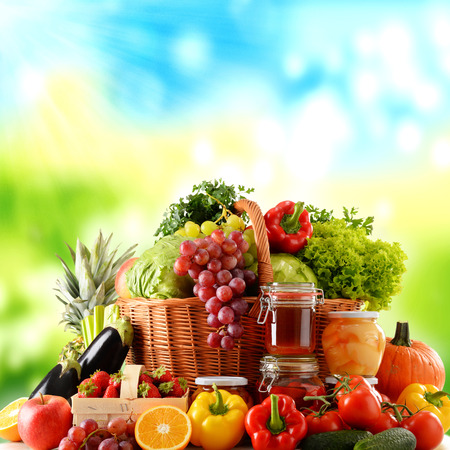 baskets: Composition with variety of organic food. Balanced diet Stock Photo