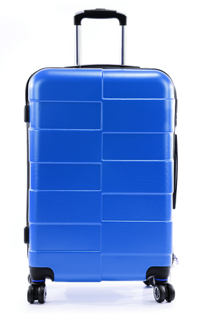 polycarbonate: Large blue polycarbonate suitcase isolated on white background Stock Photo