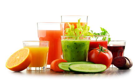 assorted: Glasses with fresh organic vegetable and fruit juices. Detox diet Stock Photo