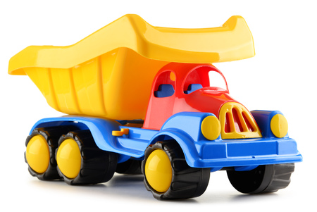 toy truck: Colorful plastic truck toy isolated on white Stock Photo