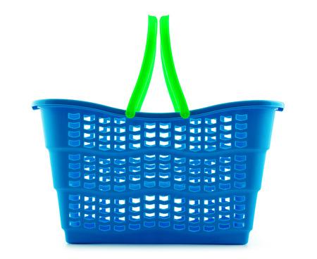 consumerism: Empty plastic shopping basket isolated on white background