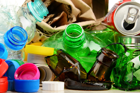 scrapyard: Recyclable garbage consisting of glass, plastic, metal and paper.