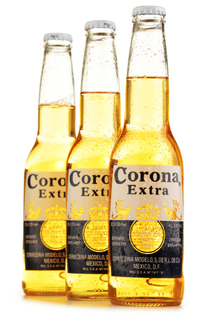 pilsner beer: Corona Extra, one of the top-selling beers worldwide is a pale lager produced by Cerveceria Modelo in Mexico Editorial