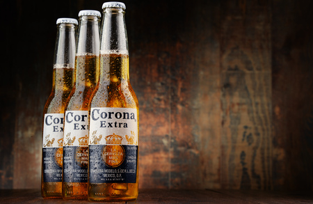 pilsner glass: Corona Extra, one of the top-selling beers worldwide is a pale lager produced by Cerveceria Modelo in Mexico Editorial