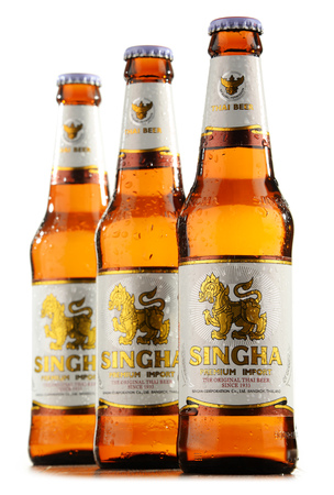 headquartered: POZNAN, POLAND - MAY 18, 2016: a pale lager Singha is the best known product of Boon Rawd Brewery headquartered in Bangkok, Thailand Editorial