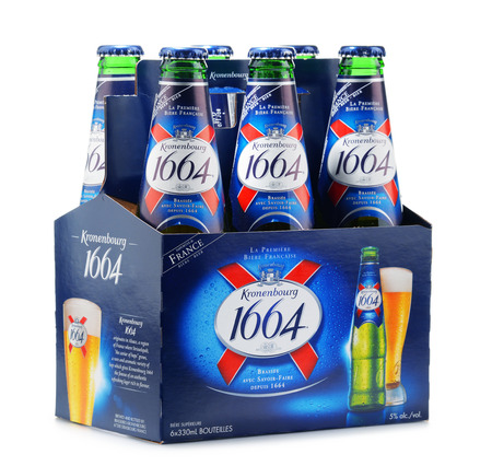 carlsberg: POZNAN, POLAND - MAY 18, 2016: Kronenbourg 1664, a 5.5% pale lager is the main brand of Kronenbourg Brewery owned by the Carlsberg Group