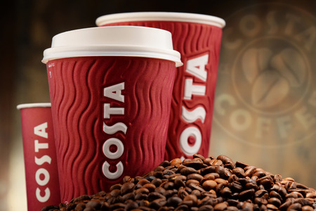 headquartered: POZNAN, POLAND - APRIL 24, 2016: Costa Coffee is a British multinational coffeehouse company headquartered in Dunstable, Bedfordshire; second largest coffeehouse chain in the world. Editorial