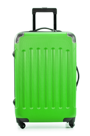 polycarbonate: Large green polycarbonate suitcase isolated on white background Stock Photo