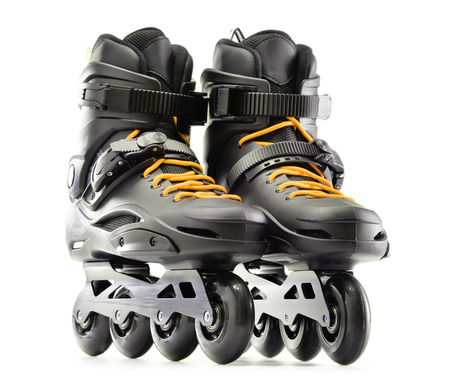 speed skating: Pair of inline skates isolated on white background.