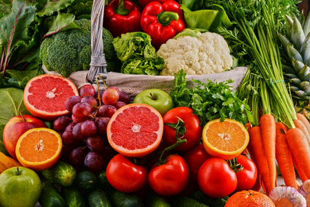 digest: Composition with assorted raw organic vegetables. Detox diet
