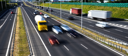 highway traffic: Six lane controlled-access highway in Poland. Stock Photo