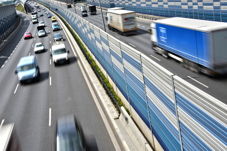 lorry: Six lane controlled-access highway in Poland. Stock Photo