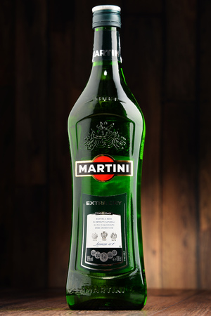 vermouth: POZNAN, POLAND - JUNE 22, 2016: Martini a famous Italian vermouth is the worlds fourth most powerful alcoholic brand produced in Turin by Martini and Rossi since 1863 Editorial