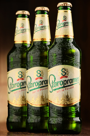 molson: POZNAN, POLAND - JUNE 22, 2016: Staropramen is the flagship product of Staropramen Brewery. The company owned by Molson Coors and located in Prague is the second largest brewery in the Czech Rep.