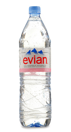 water bottle: POZNAN, POLAND - JUNE 24, 2016: Evian is a brand of mineral water made in France on the south shore of Lake Geneva owned by multinational corporation Danone