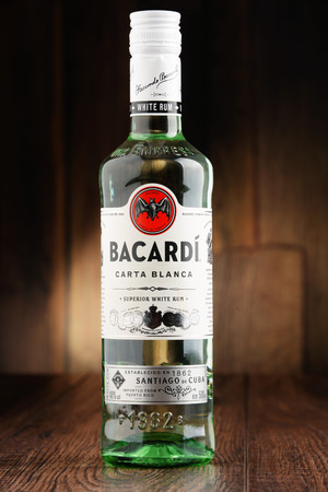 bacardi: POZNAN, POLAND - JUNE 22, 2016: Bacardi white rum is a product of Bacardi Limited, the largest privately held, family-owned spirits company in the world, headquartered in Hamilton, Bermuda.