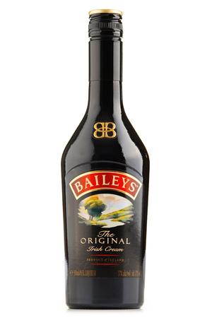 baileys: POZNAN, POLAND - JUNE 23, 2016: Baileys Irish Cream is an Irish whiskey- and cream-based liqueur, made by Gilbeys of Ireland. Brand currently owned by Diageo.