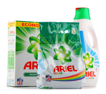 flagship: POZNAN, POLAND - JUNE 24, 2016: Ariel is a laundry detergent product the flagship brand of Procter & Gamble corporation headquartered in Cincinnati, Ohio, USA. Editorial