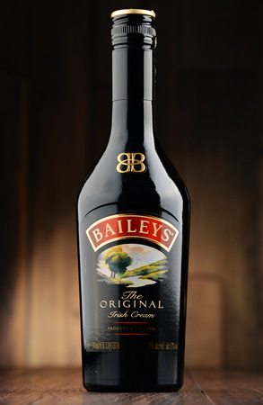 baileys: POZNAN, POLAND - JUNE 22, 2016: Baileys Irish Cream is an Irish whiskey- and cream-based liqueur, made by Gilbeys of Ireland. Brand currently owned by Diageo.