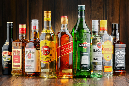 bacardi: POZNAN, POLAND - JUNE 23, 2016:Worldwide some 2 billion people use alcohol, one of the most widely used recreational drugs on earth, with yearly consumption of over 6 litres of pure alcohol per person